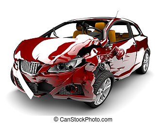 Red car accident - A red car in an accident isolated on a...