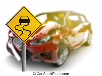 Red car accident with danger yellow sign