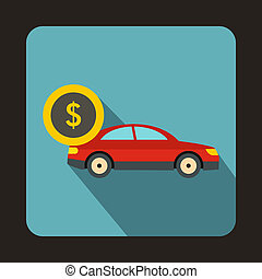 Red car and dollar sign icon, flat style