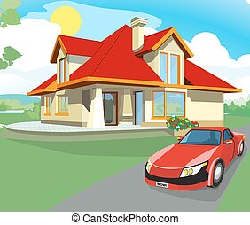Red car and home - Red car pulls away from home. House with...