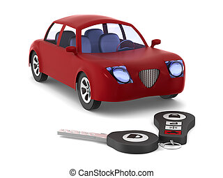 Red car and key on white background. Isolated 3D...