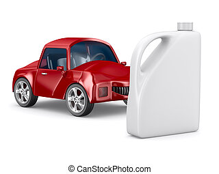 Red car and oil canister on white background. Isolated 3D...