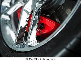 Red Car Brakes Closeup