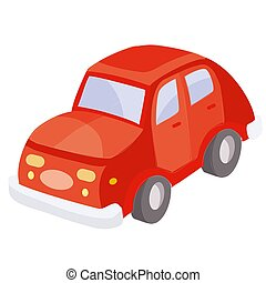 red car, cartoon illustration, isolated object on white background, vector illustration,