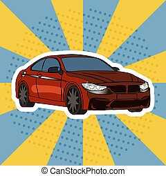 Red car comic book pop art style vector illustration