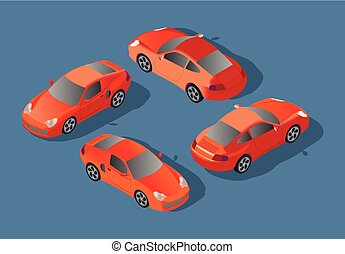 Red Car concept. Sedan automobile. Flat 3d transport high quality icon set. Car icons isolated vector . City transport.
