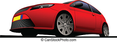 red car-coupe on the road. Vector
