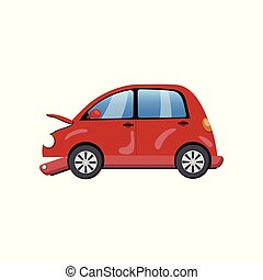 Red car damaged in a road accident cartoon vector Illustration