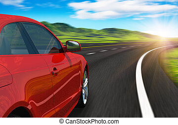 Red car driving by autobahn in sunset with motion blur