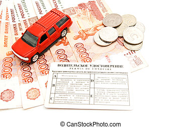 red car, driving license, coins and banknotes