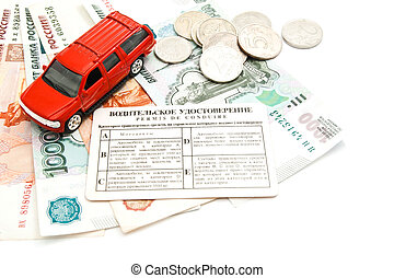 red car, driving license, coins and money