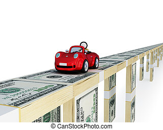 Red car driving on a bridge made of money .
