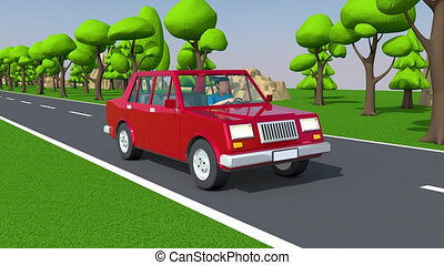 Red car driving on a suburban highway. 3d looped animation.