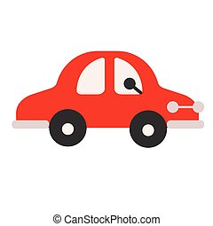 Red car flat illustration on white