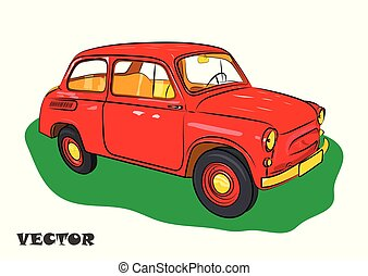 Red car for travel on green grass. Vector illustration.