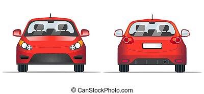 Red car front and back view, flat style. Template for web site, mobile application and advertising banner. Car isolated on a white background, vector.