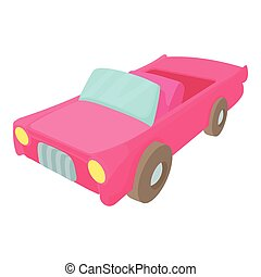 Red car icon, cartoon style