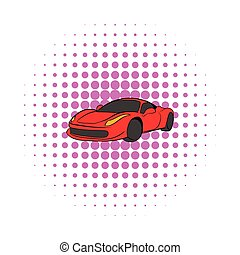 Red car icon, comics style - Red car icon in comics style on...