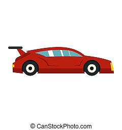 Red car icon, flat style