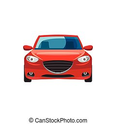 Red car icon in cartoon style