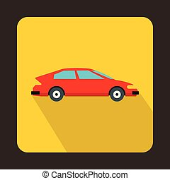 Red car icon in flat style