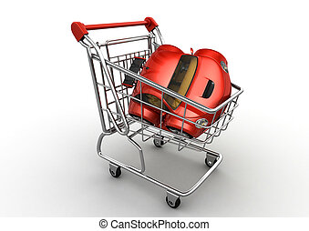 Red car in shopping cart