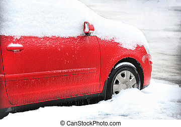 red car in winter