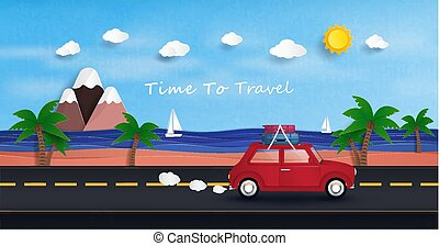 red car is driving to travel..And to relax in the sea during the holidays.