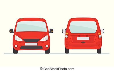 Red car isolated on white background. Front and rear view.