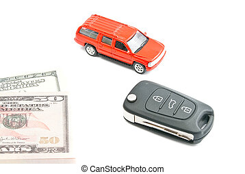 red car, keys and money