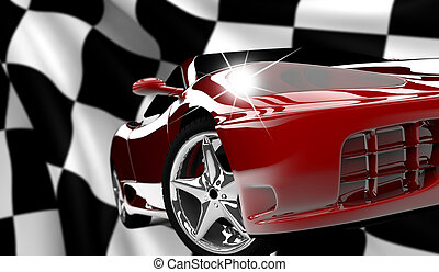 Red car on a checkered flag - A red car on a checkered flag