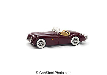 Red car on a white background, toy