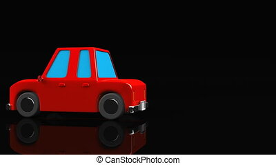 Red car on black text space. Loop able 3DCG render animation.