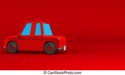 Red car on red text space. Loop able 3DCG render animation.