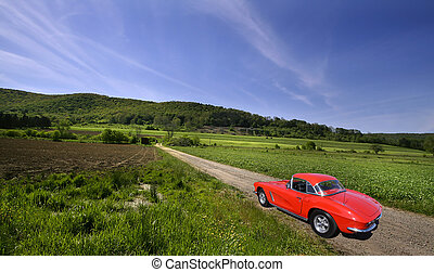 Red Car On Rural