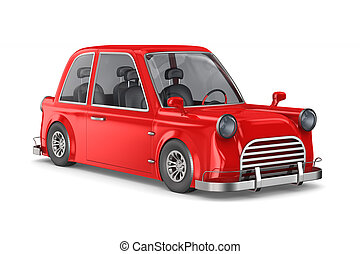 Red car on white background. Isolated 3D illustration