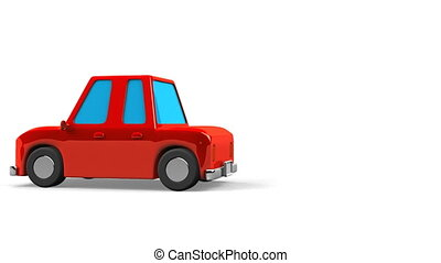 Red car on white text space. Loop able 3DCG render animation.
