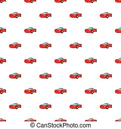 Red car pattern, cartoon style