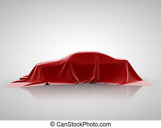 red car presentation on a white background