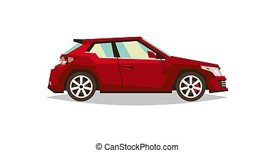 Red car roadster. Side view. Transport for travel. Gas engine. Alloy wheels. Vector illustration. Flat style
