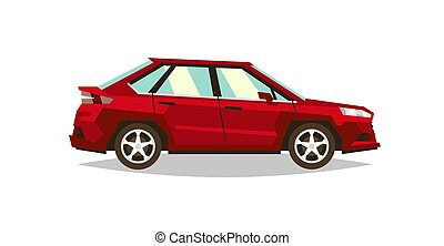 Red car sedan. Side view. Transport for travel. Gas engine. Alloy wheels. Vector illustration. Flat style