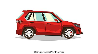 Red car SUV. Side view. Transport for travel. Gas engine. Alloy wheels. Vector illustration. Flat style