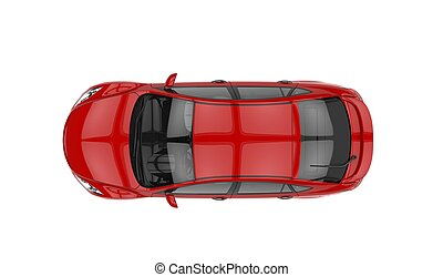 Red Car Top View 2