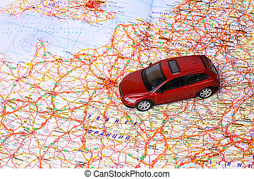 Toy Car On Map Side View Of Red Toy Small Car On Colorful Map