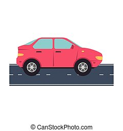 red car vehicle at street vector design