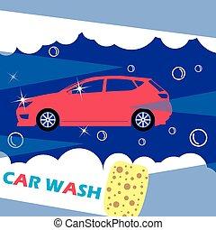 Red car wash needles on a dark blue background