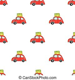 Red car with a luggage on the roof icon in cartoon style isolated on white background. Family holiday symbol stock vector illustration.