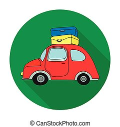 Red car with a luggage on the roof icon in flat style isolated on white background. Family holiday symbol stock vector illustration.