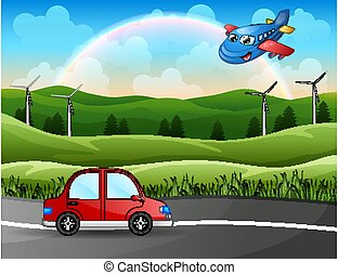 Red car with a plane through the nature road