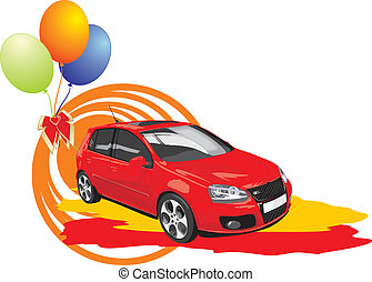 Red car with colorful balls. Vector illustration